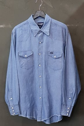 80's Wrangler - Chambray - Western - Made in U.S.A. (XL)